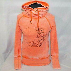 Ragwear Womens XS Olivia Orange Tie Dye Hoodie